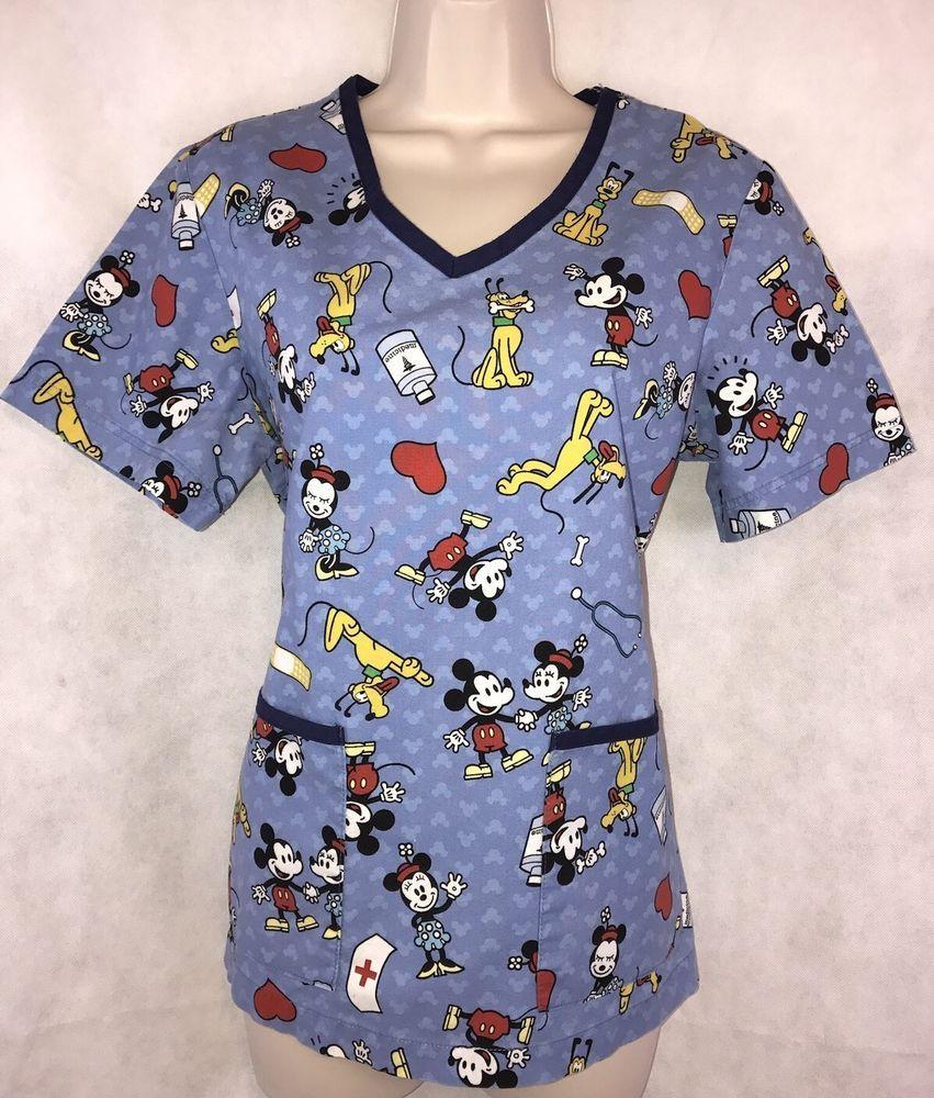 bee4e659aa0 Disney Mickey Minnie Mouse Pluto Blue Uniform Scrub Top Size Medium |  Clothing, Shoes & Accessories, Uniforms & Work Clothing, Scrubs | eBay!