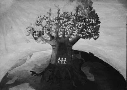 """""""Fe y Alegría en el mundo"""" Tempera sobre papel, 1996."""