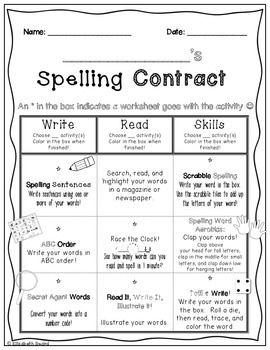 Spelling Word Contract: Homework or Class Activities to Practice ...