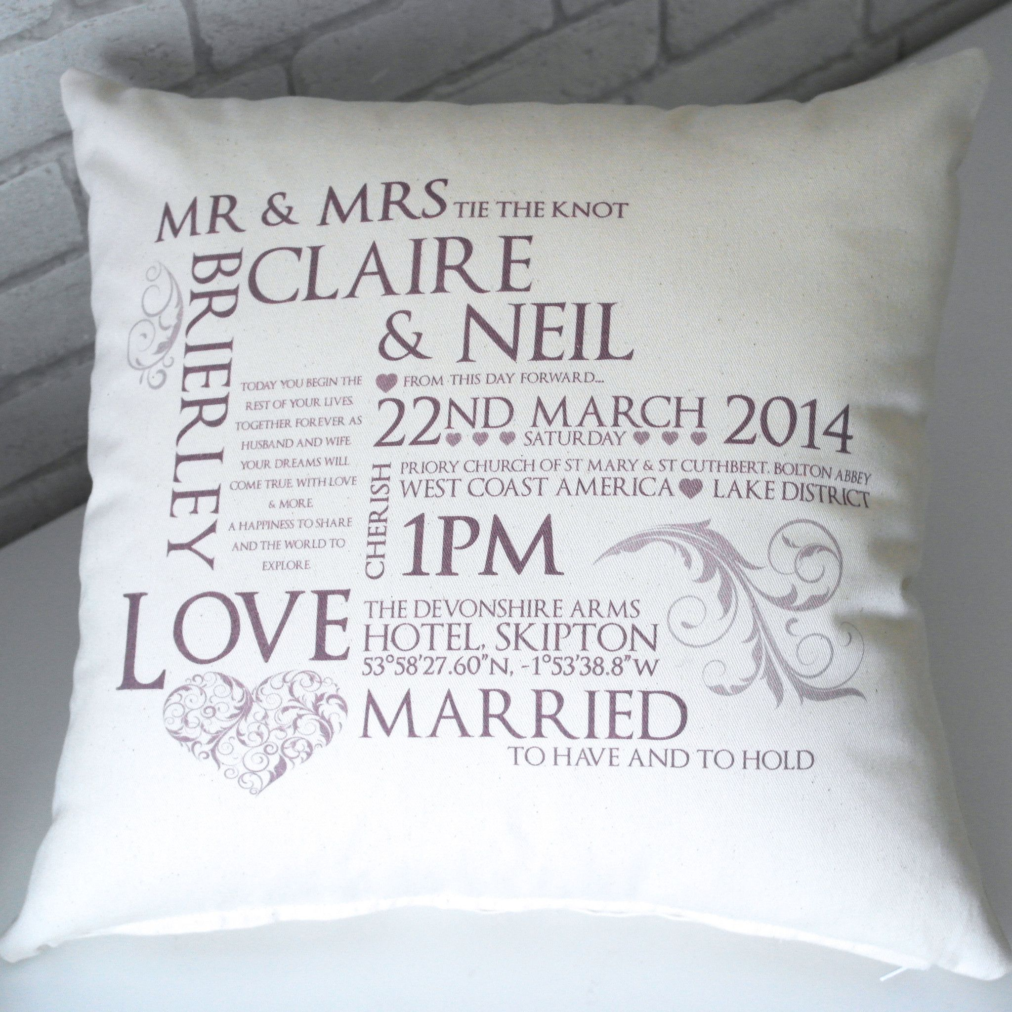 Wedding Keepsake Cushion - All Things Interior - 6 | Gifts and ...