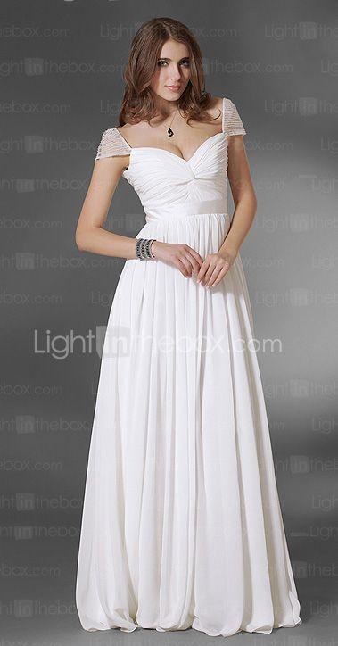 A-Line V Neck Floor Length Chiffon Prom / Formal Evening Dress with ...
