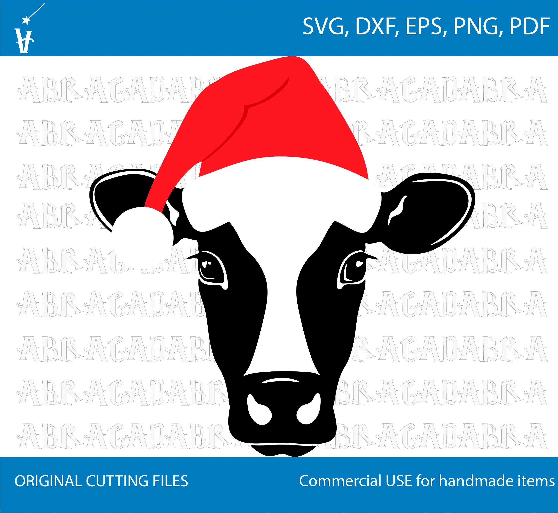 Cow with Santa hat svg, Cow head svg, Cow SVG, Santa hat