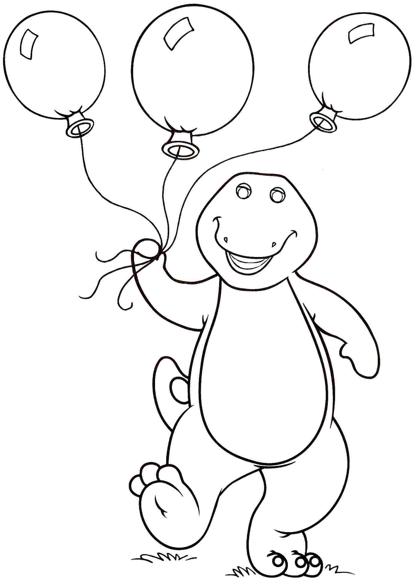 Barney Carrying Balloons Barney Coloring Pages Pinterest