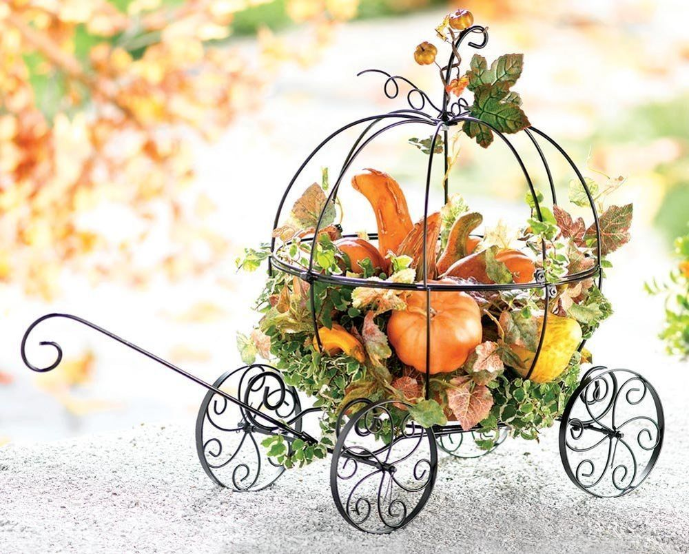 Thanksgiving Day Decoration Cinderella Wire Metal Carriage Harvest ...