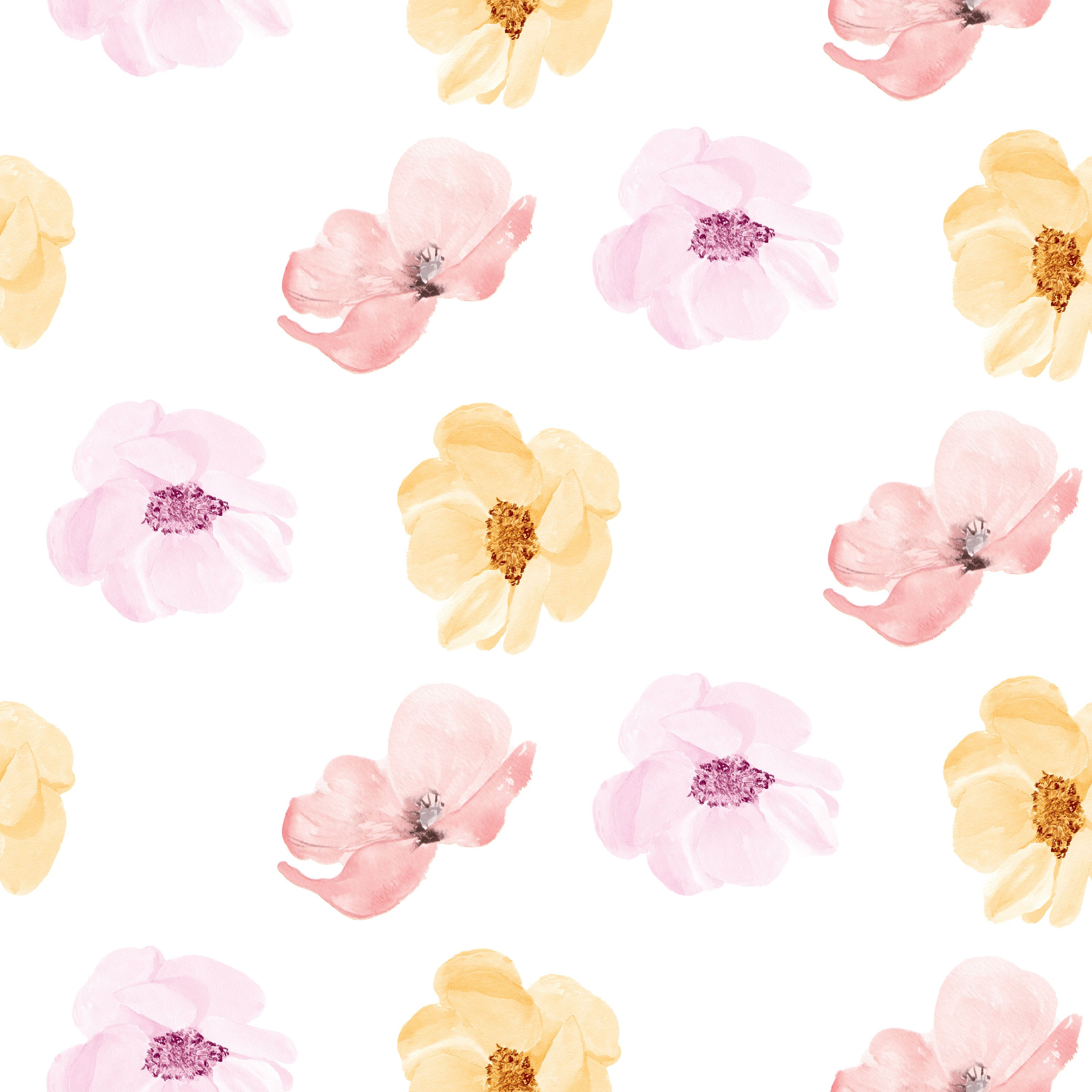 Watercolor Brushed Floral Garden Printed 100/% Cotton Quilting Fabric by the Yard