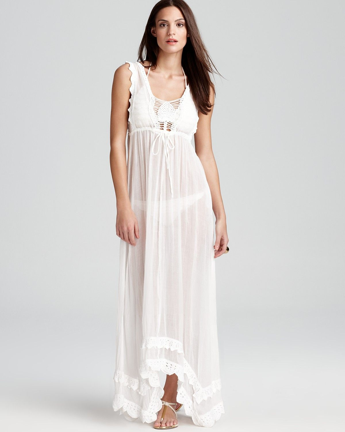 OndadeMar Whites Cotton Gauze Crochet Maxi Dress Cover Up | Style ...