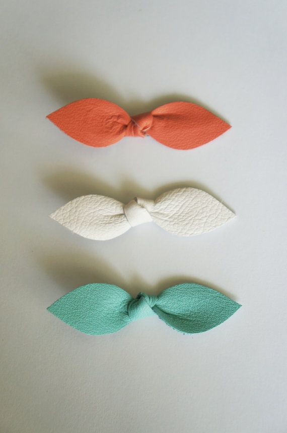 Baby Leather Knot Hair Bows Coral White Light Robin