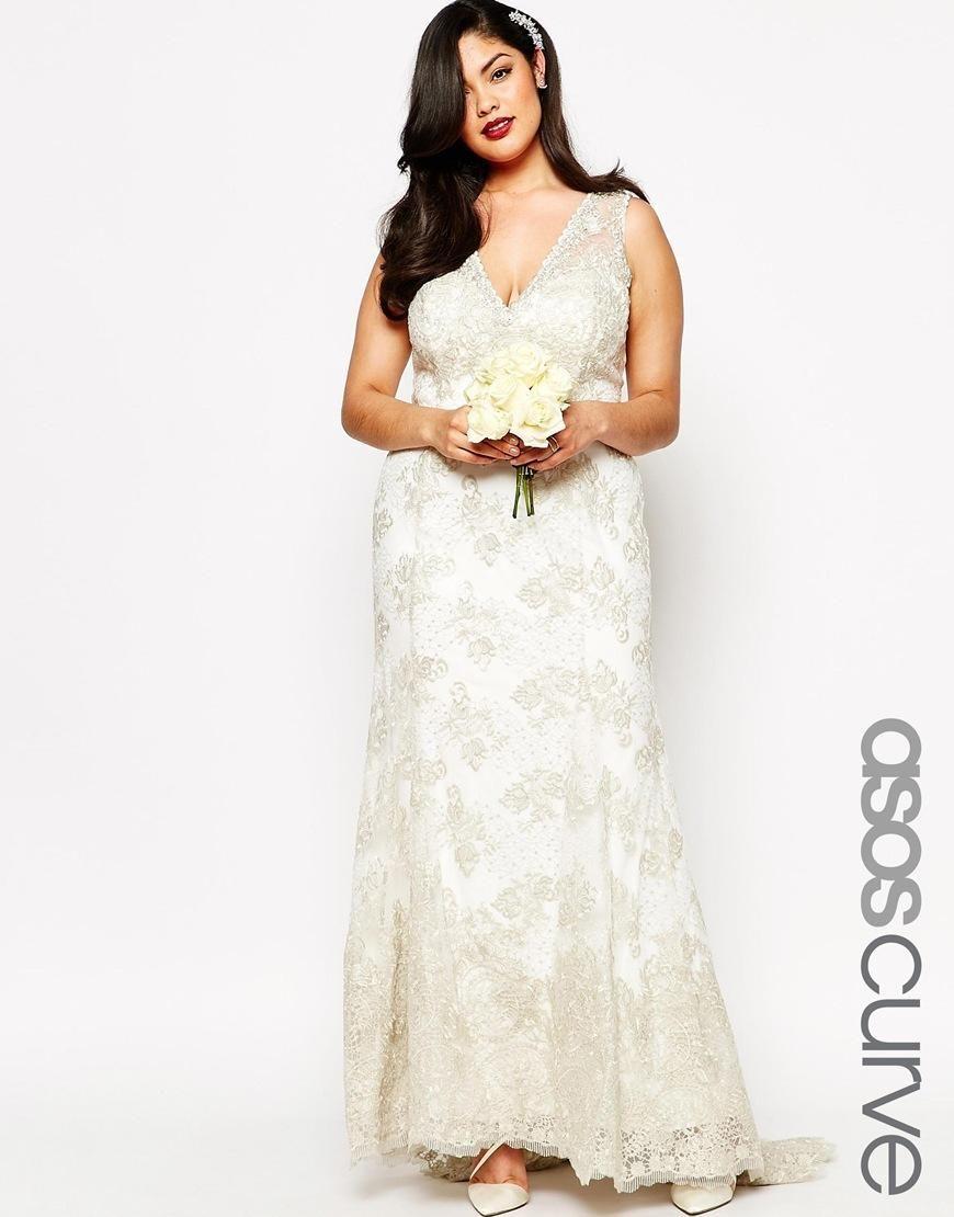 Asos curve asos curve bridal maxi robe vintage en for Robe maxi mariage asos