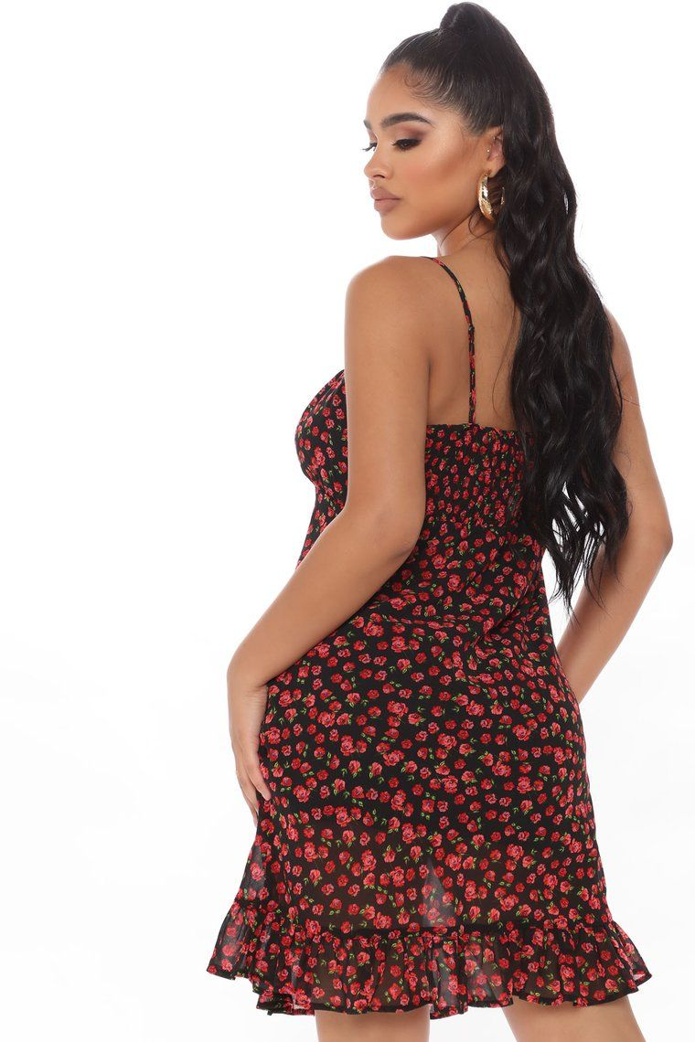 Roses Are Red Floral Mini Dress Black Red Floral Mini Dress Mini Black Dress Mini Dress [ 1140 x 760 Pixel ]