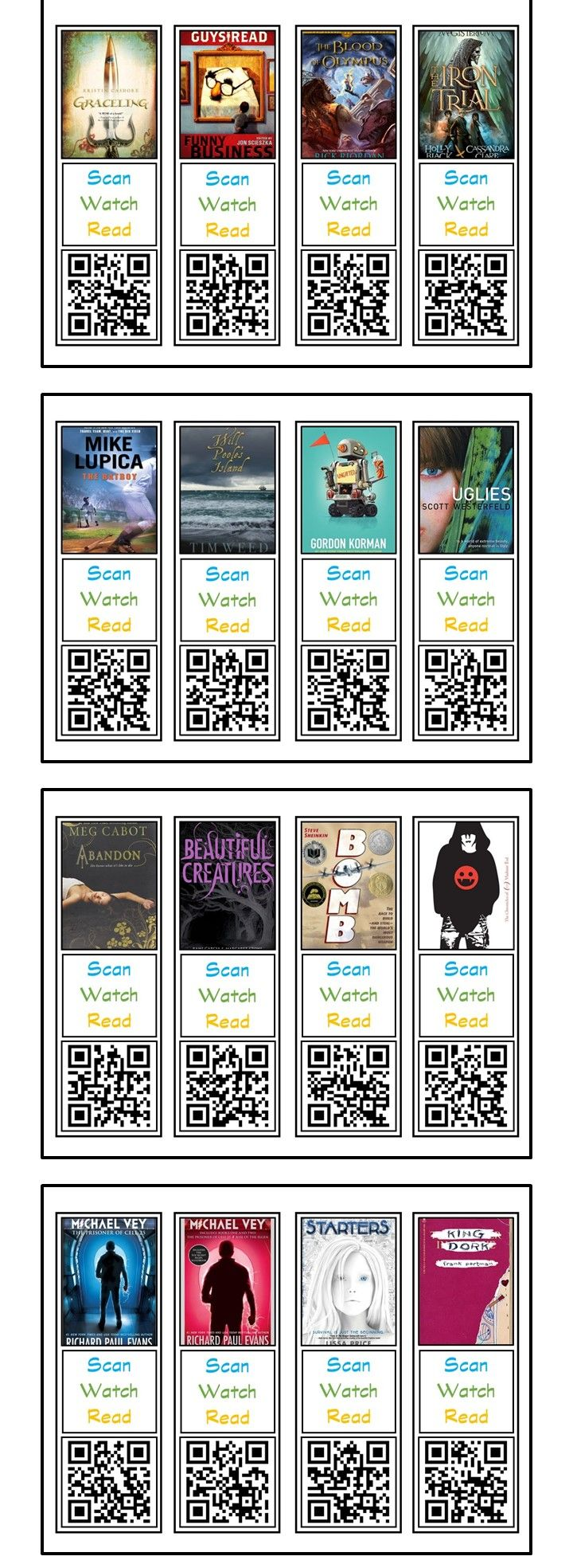 Use bookmarks with QR Codes to promote books.