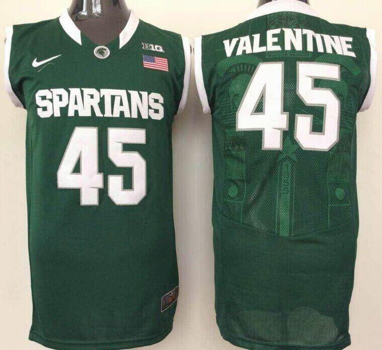 on sale 026b2 e984c Men's Michigan State Spartans #45 Denzel Valentine Green ...