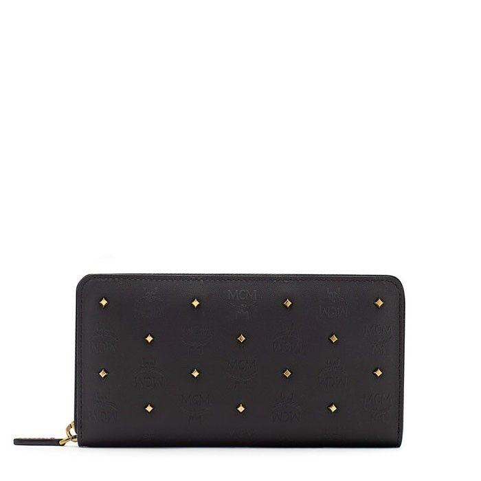 MCM Large Claudia Studs Wallet In Black