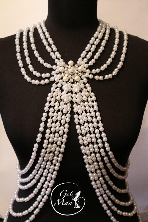 Pearl Body Chain Carmen Body Jewelry Wedding by GetManJewelry