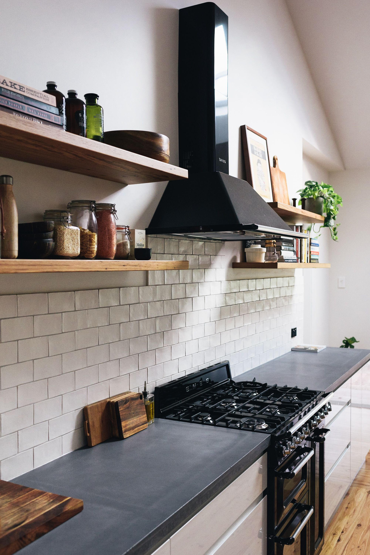 kitchen realised openshelves smeg concrete concrete benchtops blackbutt [ 2000 x 2996 Pixel ]