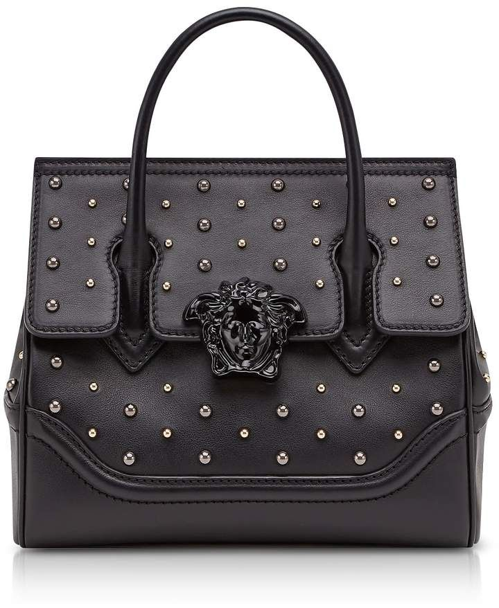 02b9f6e2096c Versace Black Leather Palazzo Empire Top Handle Bag W studs