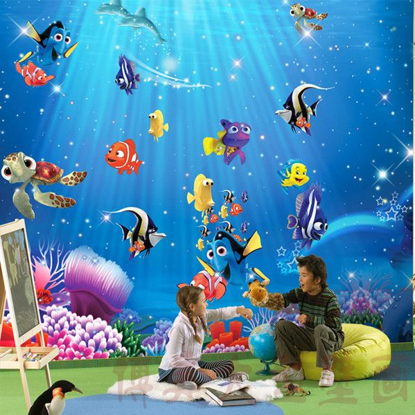 Mural wallpaper child real Underwater world Free shipping