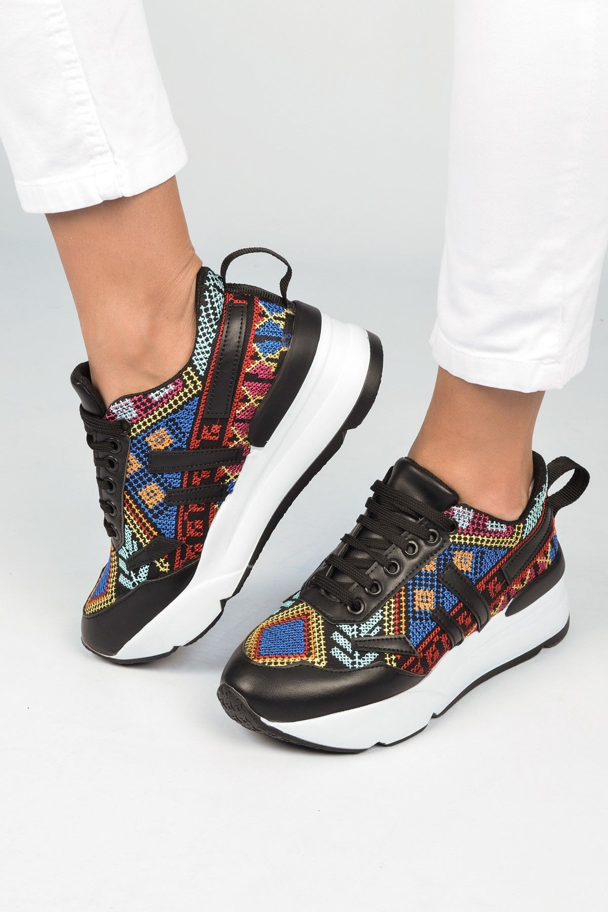 Pembe Potin Suni Deri Bayan Ayakkabi Shoes Fashion Sneakers