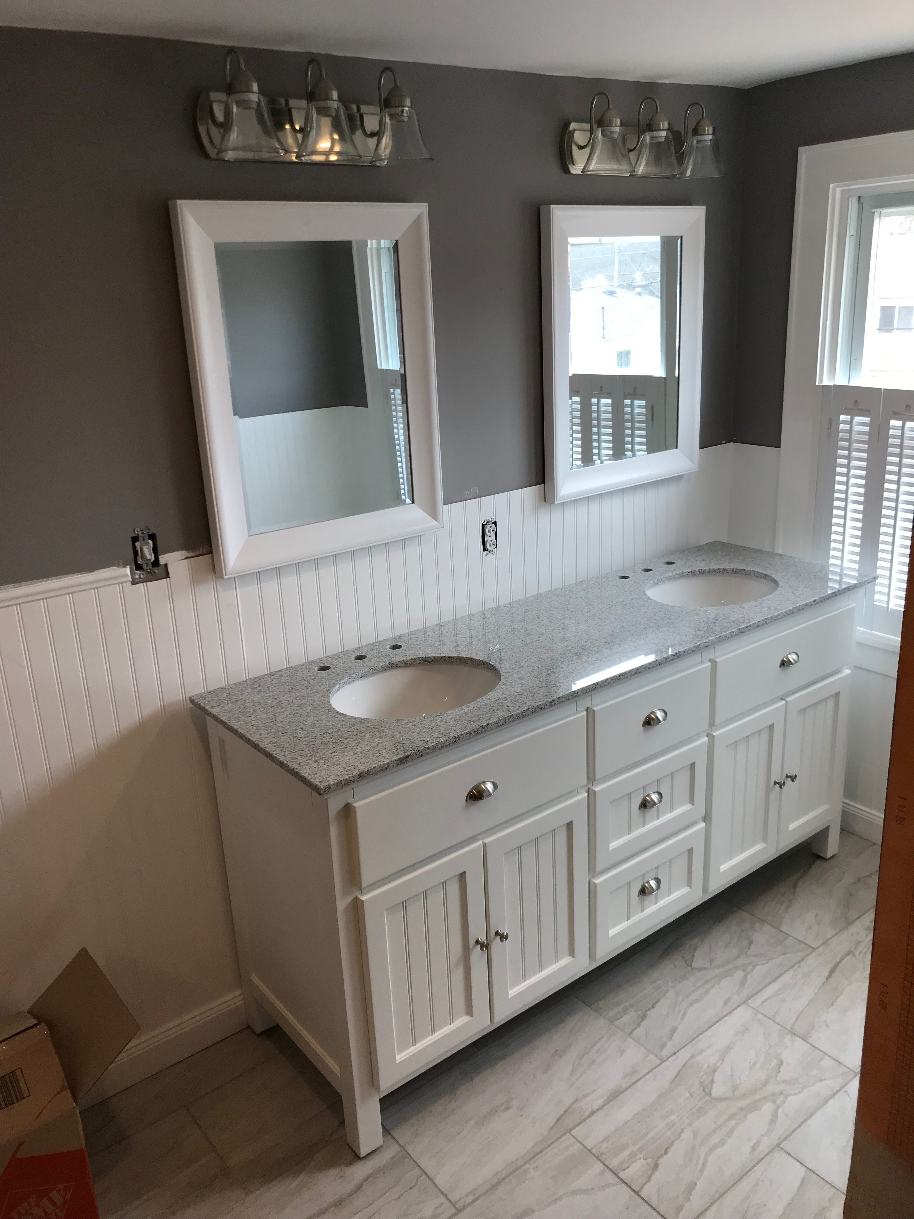 After White Bathroom Gray Grey Tile Beadboard Chair Rail Double Sink Shutters Flip Beadboard Bathroom Bathroom Inspiration Decor Budget Bathroom Remodel