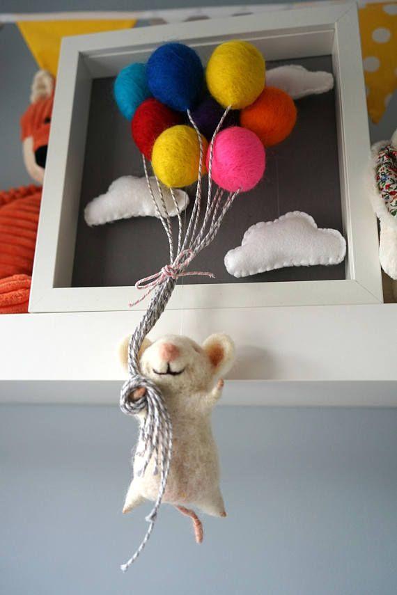 Needle Felted Animal, Felt Animals, Waldorf Doll, Baby Mobile, Shadow Box, Nursery Wall Art, Hot Air Balloon, Felt Animals, Mobile Bebe #dollcare