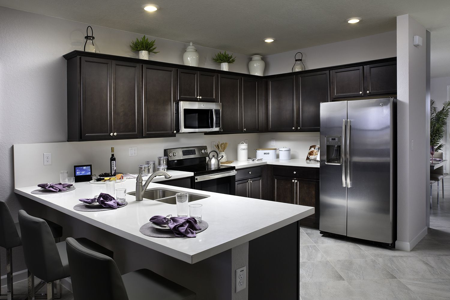 Would Dark Kitchen Cabinets Be A Delight Instead Of Ones That Are White Aquabella In Miami Lakes Fl Kitchen Cabinets Dark Kitchen Cabinets Dark Kitchen