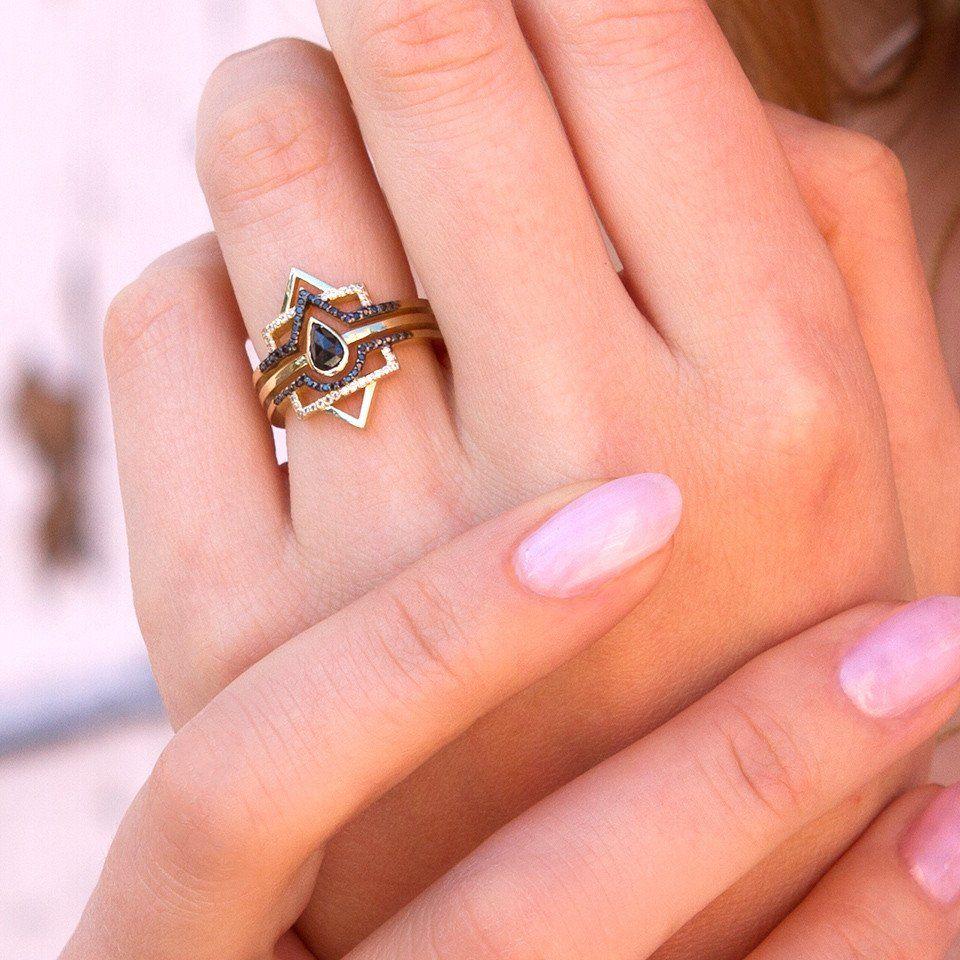 The Pear Box - Black Diamonds | Deco engagement ring, Black diamonds ...