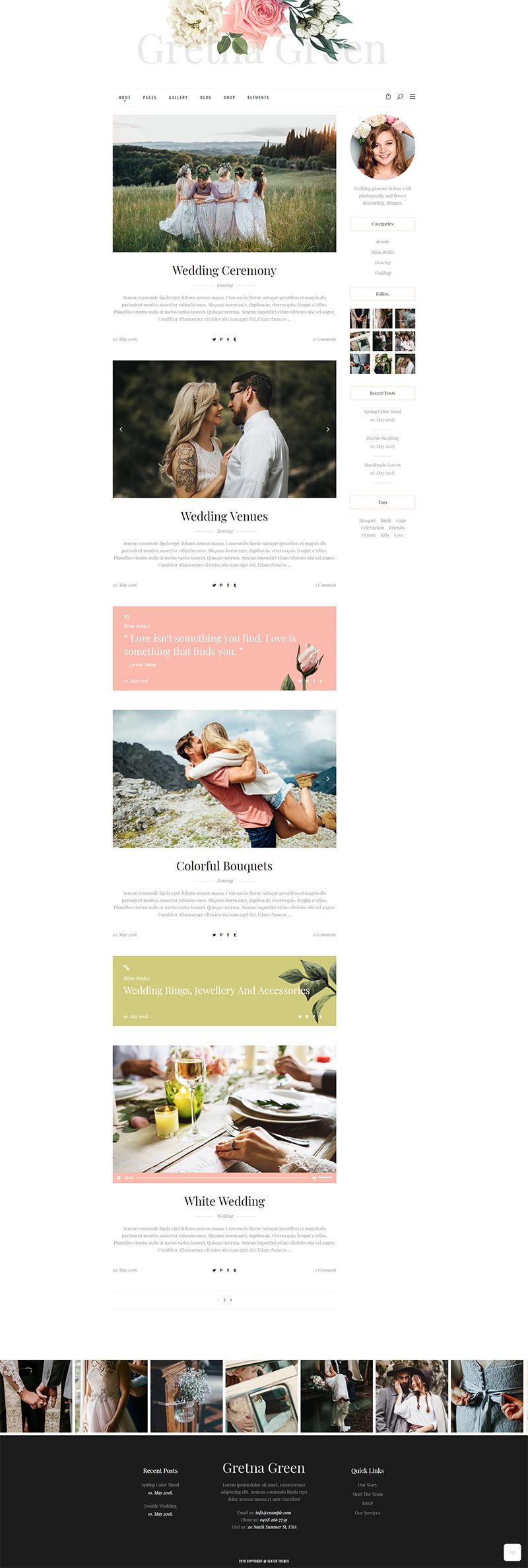 Say I Do To Website Perfection With Gretna Green A Wordpress Theme For Wedding Planners And Celebration Green Themed Wedding Gretna Green Gretna Green Wedding