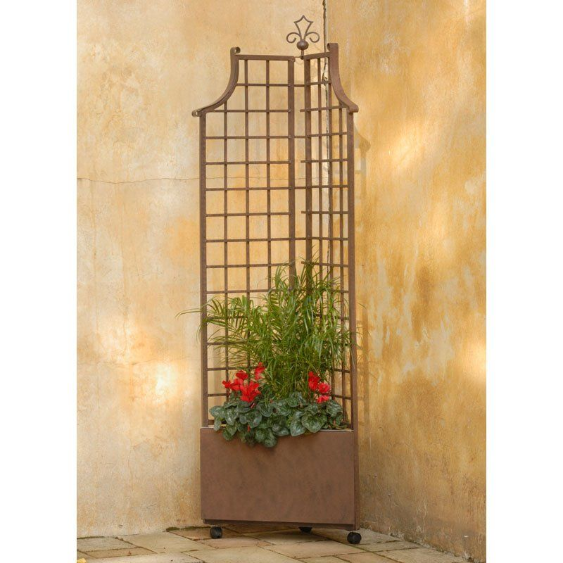 6.5 Foot Square Iron Corner Planter With Trellis   Garden Planters At  Simply Planters