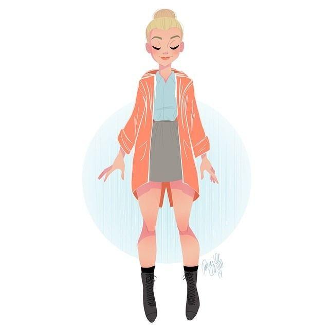 Today it's raining in Copenhagen. Felt like drawing my #outfit. #lunchsketch #sketch #drawing #doodle #girlsinanimation #ilovedenmark