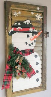 Shabby Chic Shutter SNOWMAN Holiday Christmas Winter Painting Unique Picture Sno…