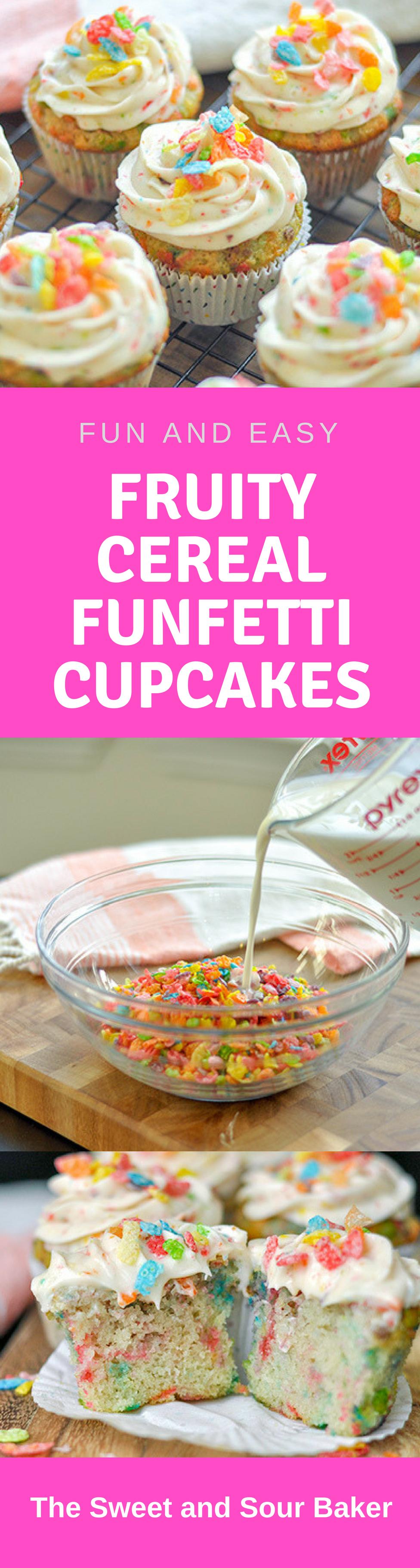 Fruity Cereal Funfetti Cupcakes
