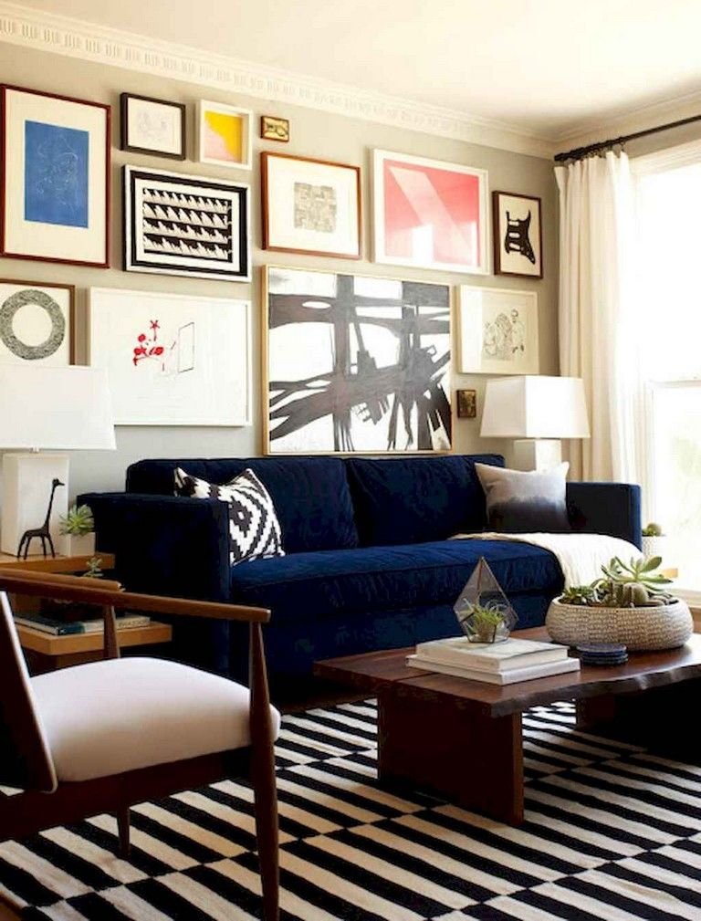 20 tasty modern midcentury living room ideas  blue couch