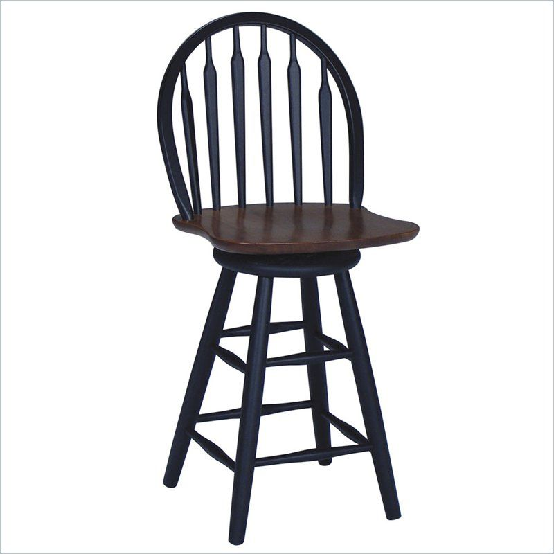 International Concepts Windsor Arrowback Swivel Counter Stool in Black S