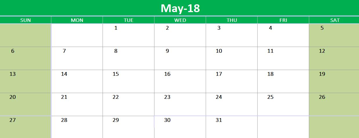 May 2018 Google Sheet Template 2018 Calendars Pinterest
