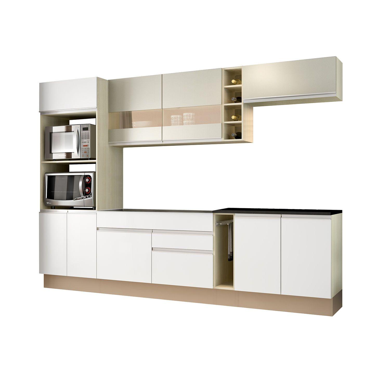 Cozinha Completa 7 Pe As Vicenza Glamy Madesa Rustic Branco Bp Bronze