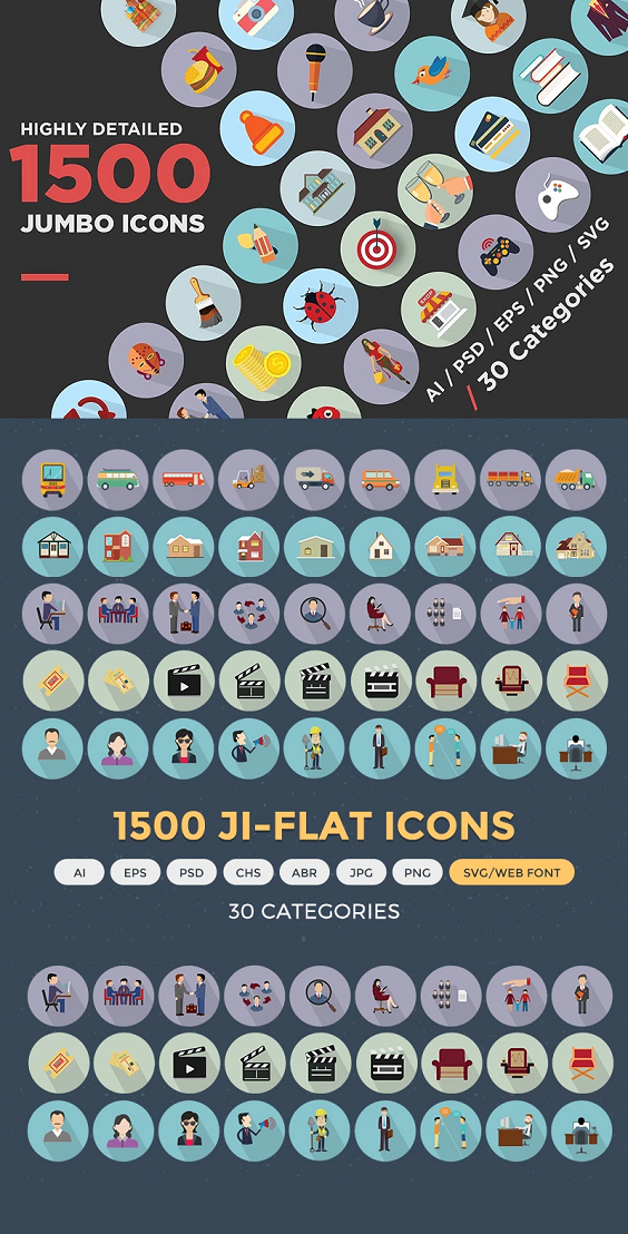 Jumbo Flat Icons Pack Iconset Template 68312 Icon pack