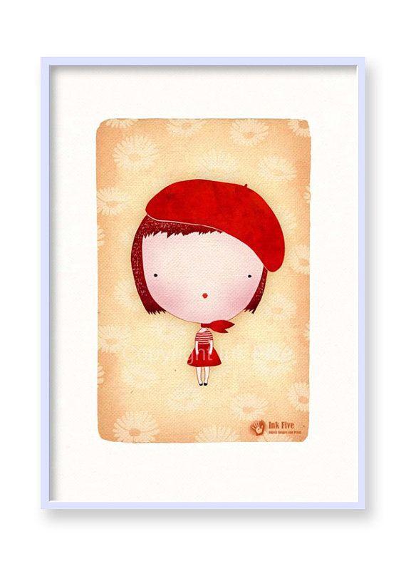 CUTE GIRL nursery art print. Kids room wall art decor. Printable red ...