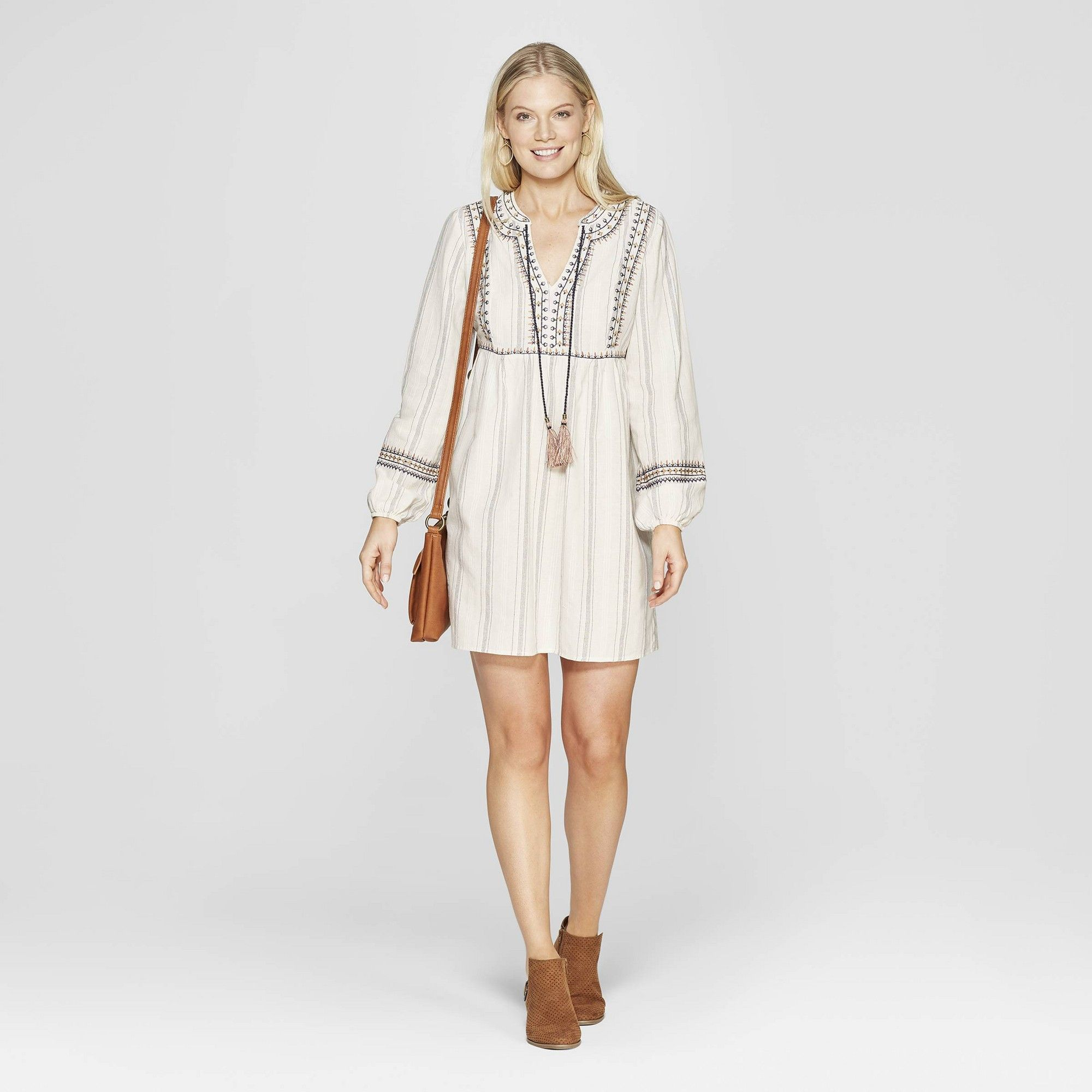 cfa184d04d Women s Striped Long Sleeve V-Neck Shift Midi Dress With Embroidery - Knox  Rose Ivory Xxl