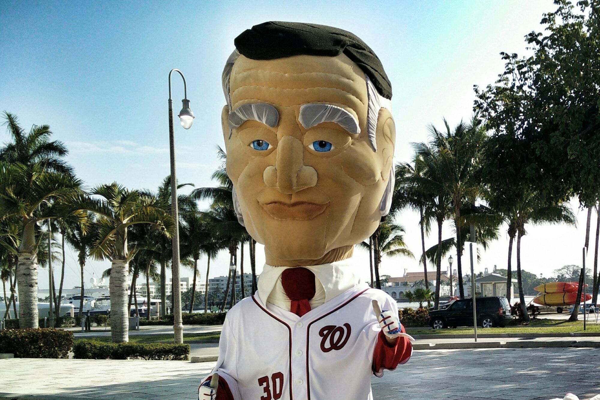President Coolidge representing the @Nationals on the waterfront #ilovewpb