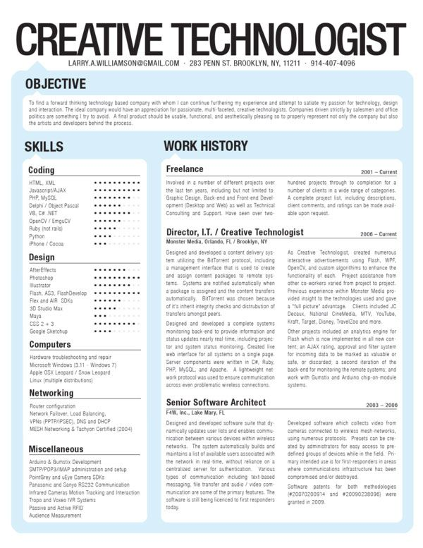 Creative Technologist CV Creative CV Inspiration Pinterest