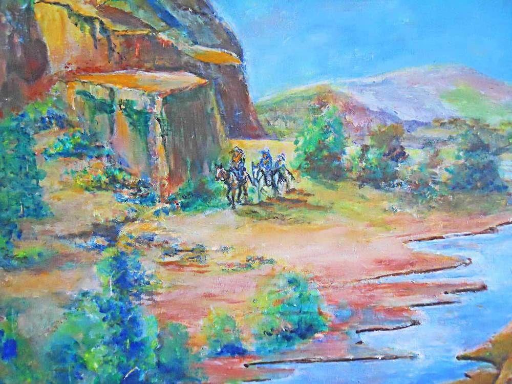 Folk Art Western Plein Air Mountain Landscape Vintage