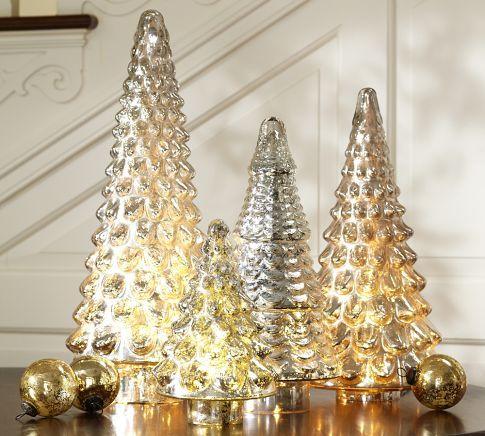 Pottery Barn Small Mini LIT MERCURY GLASS TREE Set Of 2 Christmas Decor New