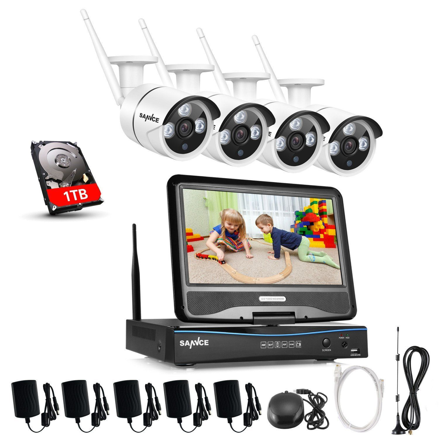 P WiFi CCTV Video Security System with Inch LCD Screen