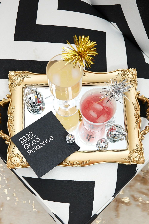 New Years Eve NYE Rose Gold BeverageCocktail Napkins New Year/'s Eve Personalized Napkins