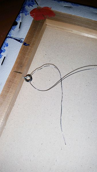 How To Install Wiring On Canvas Painting For Hanging Step 6