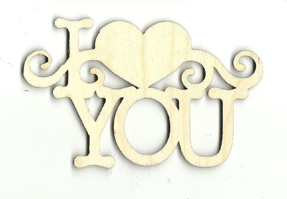 """Wooden MDF Laser Cut Shape /""""I love you.../"""""""