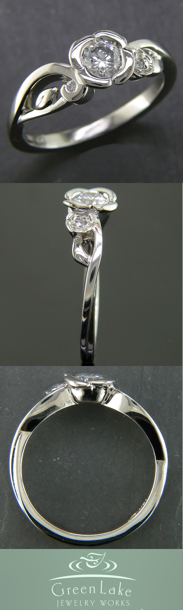 Custom made diamond flower ring in k warm white gold cutesy
