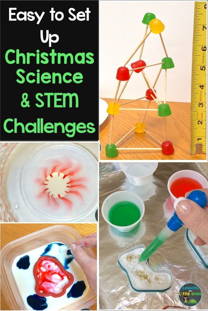 Easy to set up Christmas science experiments & STEM challenges that are perfect for keeping students engaged the weeks or days before holiday break #Christmasscience #ChristmasSTEM #scienceforkids