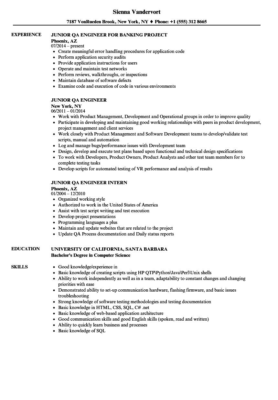 Junior Qa Engineer Resume Samples Resume Engineering Resume Education Resume