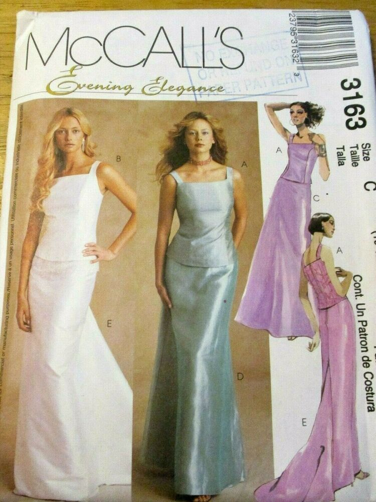 Mccall S Sewing Patterns No 3163 Size 10 12 14 Ladies Evening