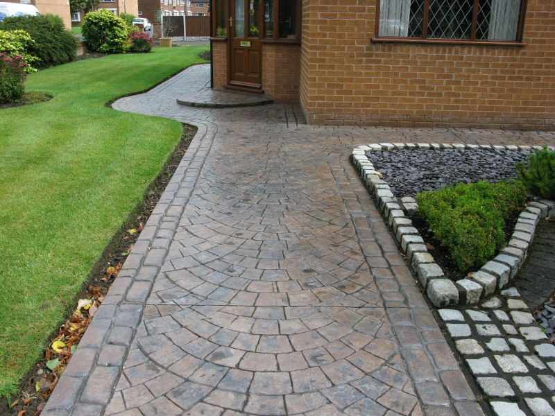 imprinted concrete garden path